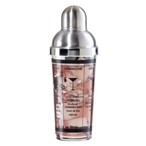 Oggi 15-Ounce Glass and Stainless Steel Cocktail Shaker