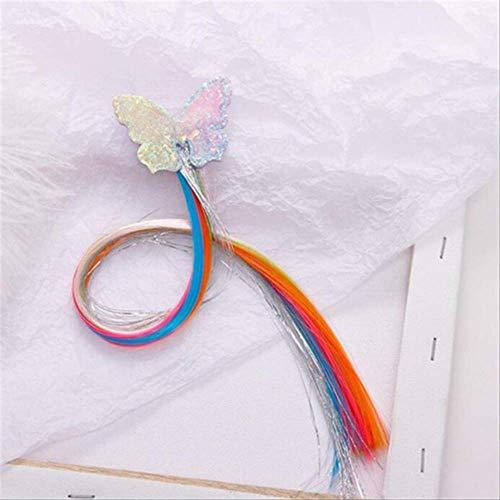 Child Twist Hair Clip Simple Barrette Butterfly Unicorn Hair Rope Accessories Kids Wig Rope Hair Head Wear 40cm butterfly