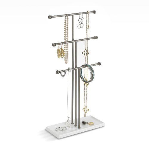 Umbra 299330491REM Trigem Hanging Organizer – 3 Tier Table Top Necklace Holder Box Display with Jewelry Tray Base One Size Nickel