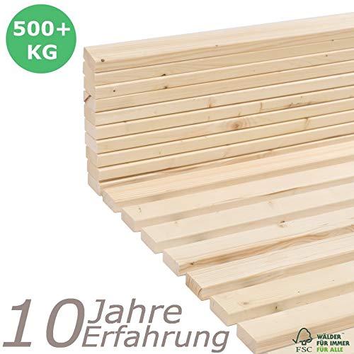 Qualitätsmarkenprodukt von TUGA - Holztech stabilstes einlegefertiges Rollrost Lattenrost 100 x 220 cm Flächenlast 500kg unbehandeltes Naturprodukt Qualitätsarbeit aus Deutschland mit 25 Jahren Garantie inkl Befestigungskit