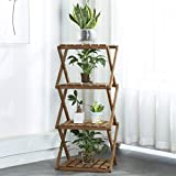 Sunnyglade 4-Tier Foldable Flower Rack Plant Stand Wood...