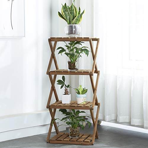 Multipurpose 4-Tier Foldable Flower Wood Rack
