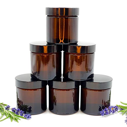 Avalon Cosmetic Packaging - PACK of 6 - Empty AMBER Glass Refillable Jars with Black Urea Airtight Lids for Aromatherapy Blends/Creams/Candlemaking/Sample Jar Pot (60ml)
