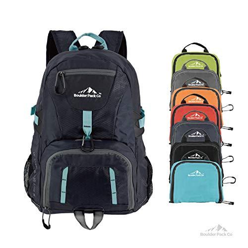 Boulder Pack Co Lightweight Foldable Travel & Hiking Backpack Daypack Bag - Fits Laptop