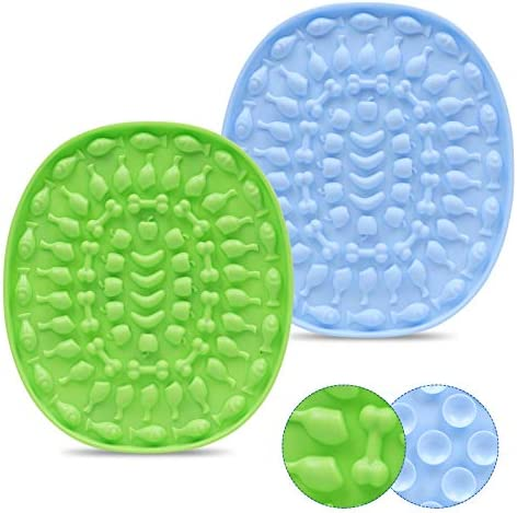 Couwilson Lick Mat for Dogs with Suction – Alternative to Slow Feeder Dog Bowls, Boredom and Anxiety Reduction, Perfect for Food, Treats, Yogurt, or Peanut Butter, Dishwasher Safe – 2 Pcs
