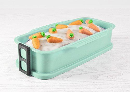 ambikon Servierboden Kastenform Silikon mit Glas-Servierplatte, Mint, 27 x 14 x 6 cm