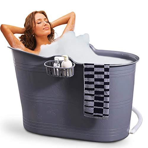 FlinQ Bath Bucket Grau | Mobile Badewanne für Erwachsene | Ideal für kleine Badezimmer | Badewanne Erwachsene XL und Kinder | Badewanne Outdoor | Tragbare Kunststoff Badewanne für Dusche