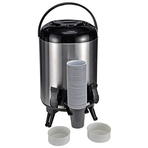 HI warmhoud-airpot, thermo-reservoir met tapkraan, 9 liter, thermoskan met kraan, roestvrijstalen thermoskan, isolatiekan roestvrij staal voor koffie, thee of glühwein