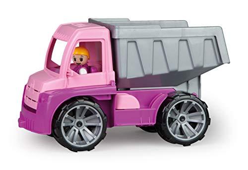 Lena 04451 TRUXX Kipper Pink, Fahrzeug ca. 27 cm, Muldenkipper LKW mit vollbeweglicher Spielfigur, robuster Kipplaster, Mulde kippbar, Spielfahrzeug für Mädchen ab 2 Jahre in rosa, lila