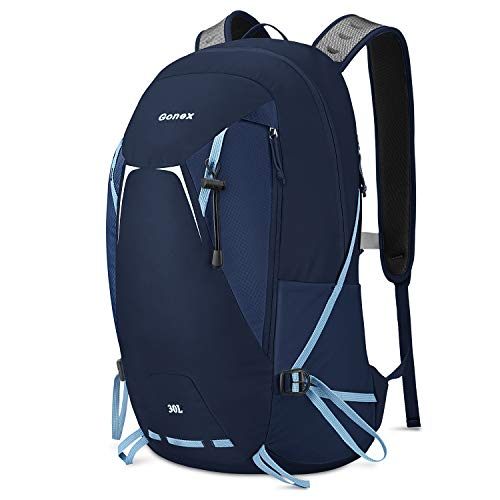 Gonex Hiking Travel Backpack 30L Small Lightweight Daypack for Camping Climbing Trekking Backpacking Cycling for Women Men College Students Work Outdoor Sports Blue