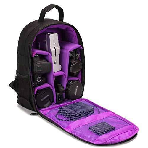 Kamerarucksack, Selighting DSLR Kamerarucksack Wasserdicht Fotorucksack Kamera Rucksack für Canon Nikon Sony SLR Spiegelreflexkamera mit Regenschutzhülle (Violett)