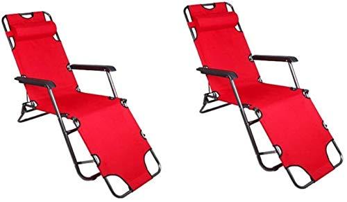 Sillón Soles de la tumbona Sillas de jardín plegables de 2 tumbona reclinada plegable, silla plegable de la playa de jardín al aire libre cama reclinable simple plegable para patio, conservatorio o si