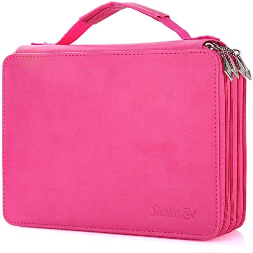 Shulaner 184 Slots Pencil Case Large Capacity Portable Zipper Pencil Holder Organizer for Colored Pencil Watercolor Pencils or Ordinary Pencils Rose Red