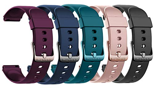 MCNNADI Replacement Straps/ Bands for Smart Watches Fitness Trackers ID205L ID205S, Comfortable Waterproof Silicone Straps, Easy Interchangeable Straps [Set of 5]