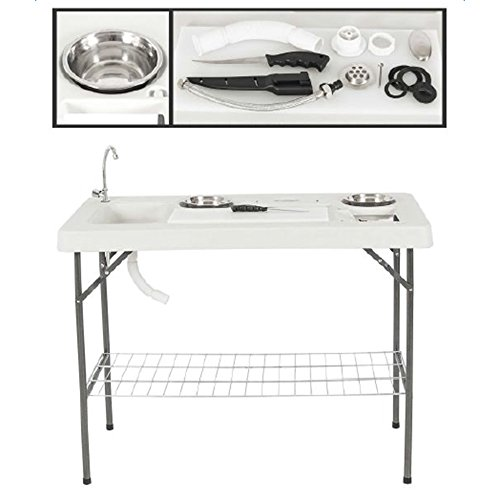 giveyoulucky Fully-Equipped Folding Table Double-Shelf Construction Camping Outdoor Table Set for Camping Beach Backyards BBQ Party