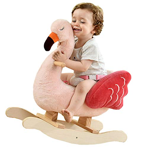 labebe Baby Rocking Horse - Flamingo Baby Plush Rocker Toys, Plush Wooden Riding Horse for 1-3 Years Boy&Girl, Toddler Outdoor&Indooor Toy Rocker, Plush Animal Rocker, Infant Gift Flamingo