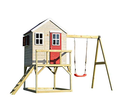 Wendi Toys Kinderspielhaus Zebra Spielturm inkl. Veranda und Schaukelgerüst