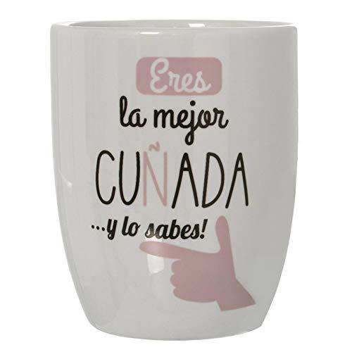 Hogar y Mas Taza/Mug Desayuno de Cerámica para tu Cuñada, con Frase Original Eres la Mejor cuñada, y lo Sabes. ø8,5x10 cm - 385 ml