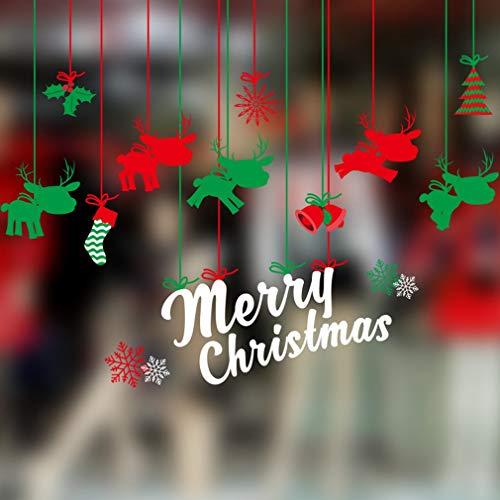 SFHTFTRGJRYJ Natale Deco Adesivi Murali Camera Chic Casual da Letto Soggiorno Fai da Te Casa Finestra Immagini Sticker Decalcomanie da Muro Decorazione della Parete (Color : Colour, Size : Size)