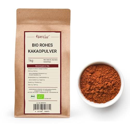 1kg di cacao in polvere BIO ottenuto dalle migliori fave di cacao - alimento crudo - 100% di cacao puro in polvere BIO fortemente disoleato (11% di grassi) - confezione che rispetta l'ambiente