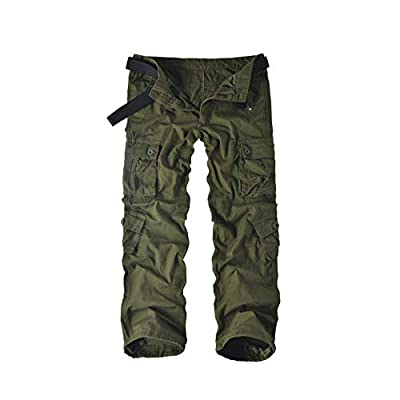 Leward Men's Cotton Casual Military Army Cargo Camo Combat Work Pants with 8 Pocket (36, Military Green)