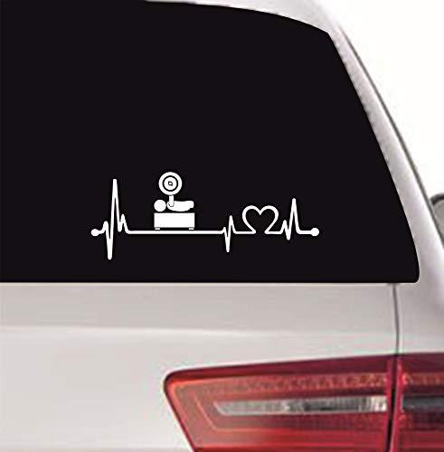 myrockshirt Pegatina con latido de corazón para conductores de sillas de ruedas, Paralímpicos, press de banca, levantamiento de pesas, 20 cm, latido de corazón