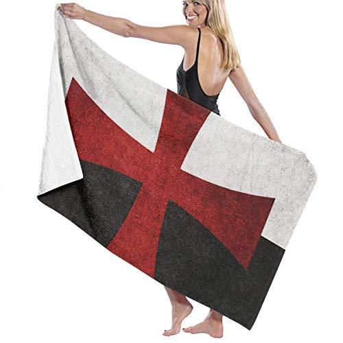 N/A Zwarte en Witte Vlag met Rode IJzeren Kruis Volwassen Microvezel Strandhanddoek Grote 31x51 Inch Snelle Droge Zeer Absorberende Multifunctionele Gebruik Zwembad Handdoek voor Vrouwen Mannen