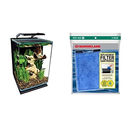 Marineland Portrait Glass LED Aquarium Kit with Replacement Filter Cartridges