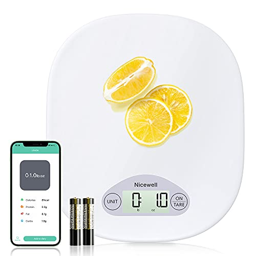 Nicewell Food Nutrition Smart Scale, Calorie Protein Analyzer Kitchen Scale for Baking, Cooking and Coffee Scale with Nutritional Calculator for Macro, Calorie and Weight Loss with App
