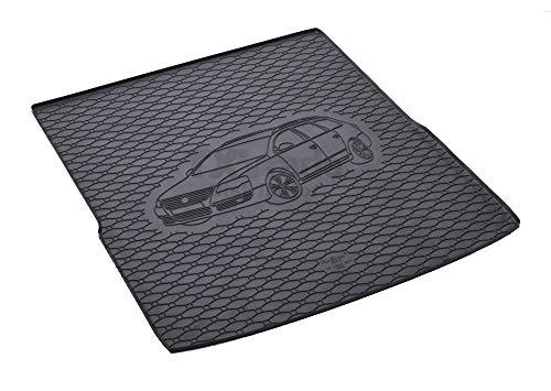 Passgenau Kofferraumwanne geeignet für VW Passat B7 Variant/Kombi ab 2011 ideal angepasst schwarz Kofferraummatte + Gurtschoner
