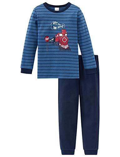 Schiesser Jungen Zug Kn Anzug lang Zweiteiliger Schlafanzug, Blau (Blau 800), 98 (Herstellergröße: 098)
