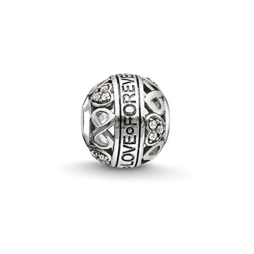 Thomas Sabo Damen-Bead Liebe Karma Beads 925 Sterling Silber geschwärzt Zirkonia weiß K0212-643-14