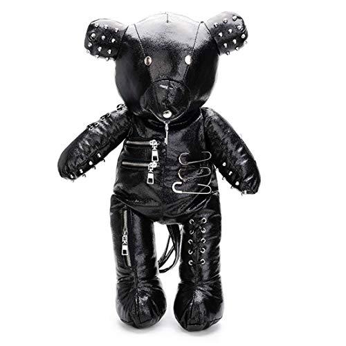 Cobeky Fashion PU Leather Skull Bear Women's Backpack Designer Backpack Student School Bag Adolescence Birthday Gift Black