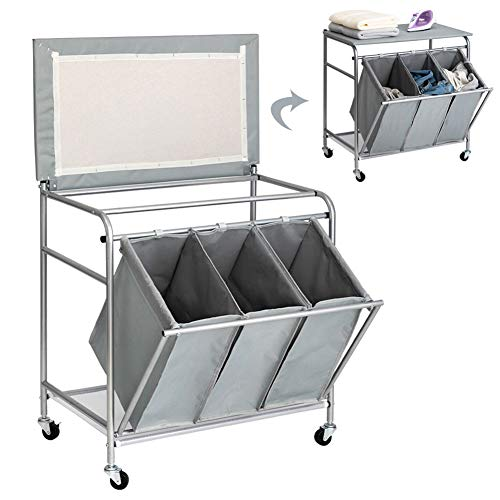 PARANTA Laundry Sorter Cart Heavy Duty 3 Bags Classic Rolling Side Pull Laundry Hamper Sorter with Ironing Board and 4 Wheels Grey