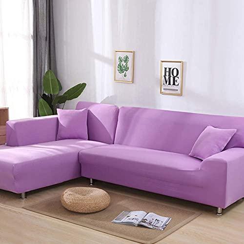 QZMX Funda de sofá para sofá, funda elástica con patrón de tela elástica, fundas de sofá para sofá de 1 pieza para mascotas (color: morado, tamaño: 2 plazas y 4 plazas)