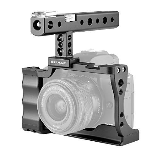 PULUZ Estabilizador de gaiola de câmera de liga de alumínio para Canon EOS M50 com alça para vídeo Vlog acessório de montagem compatível com Canon EOS M50