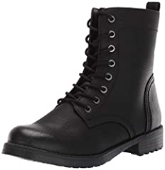 """Modern classic combat boot with inside zipper for easy access Faux leather upper with breathable jersey lining 5mm latex and memory foam padding for superior insole comfort Matte finish, waxed laces """"Personal Shopper Style Tip: These classic combat b..."""