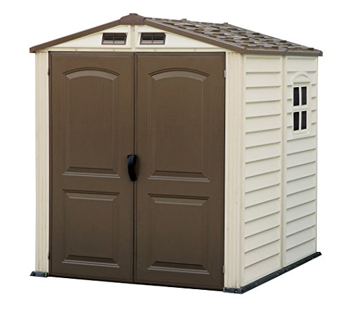 Photo of Duramax StoreMate 6′ x 6′ Plastic Garden Shed with Plastic Floor & Fixed Window – Ivory & Brown – 15 Years Warranty