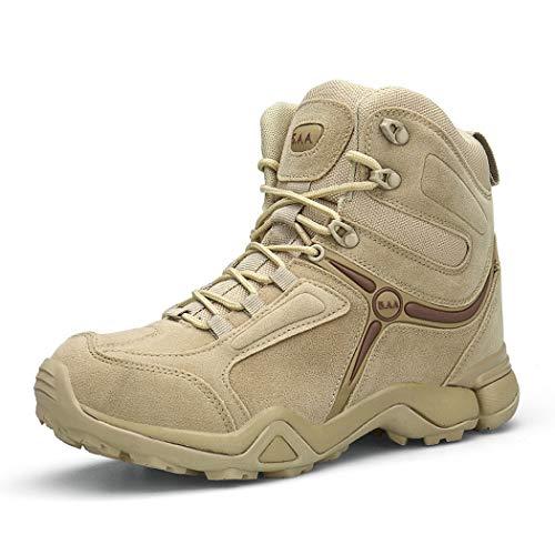 AZLLY Tactische laarzen voor heren, antislip, veiligheidsschoenen om buiten te wandelen, industriële laarzen met stalen punt met vetersluiting