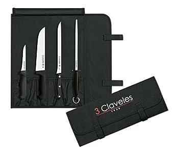 3 Claveles Set Cocina-Cuchillo Carnicero, Deshuesador y Jamonero + Chaira + Maletín Portacuchillos con Capacidad para 6 Piezas
