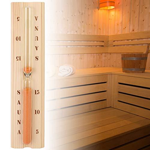 Duokon 5/10/15 Minutes Pine Sauna Sanduhr, genaue Sanduhr aus Holz mit robustem hitzebeständigem Glas für die Whirlpool-Sauna