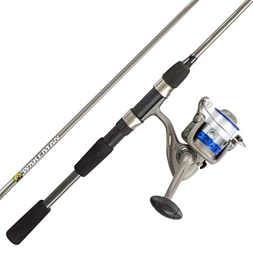 """Fishing Rod & Reel Combo -6'6"""" Fiberglass Pole, Spinning Reel- Bass, Trout & Lake Fish-Spooled with 10lb Test-Action Series by Wakeman Outdoors (Blue) (80-FSH3004)"""
