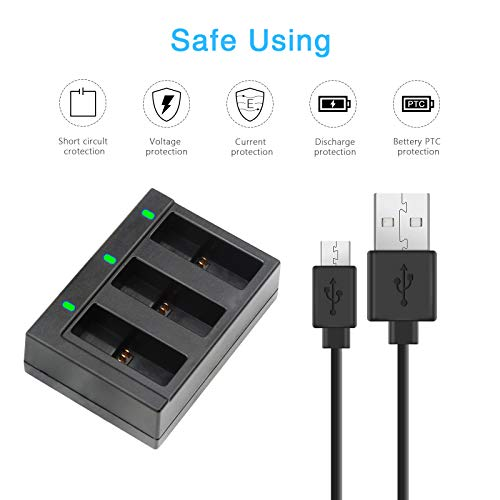SHOOT 3-Pack Battery USB Charger for GoPro HERO7 Black/HERO6/HERO5/HERO(2018) Camera Replacement Batteries Must Have Accessories(Fully Compatible with Original)