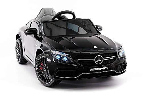 Emr Distributors Mercedes C63S Battery Powered 12V Kids Ride-ON Toy CAR with R/C Parental Remote MP3 Player LED Wheels | Black (Black)