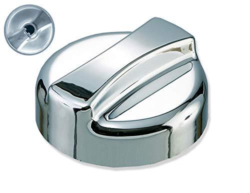 Neutrale Drehexcenter-Kappe - Drehknopf-Ersatzteil für Küchenspülen mit Excenterventil - Kunststoff in Chrom-Optik - 44 mm rund x 30 mm hoch