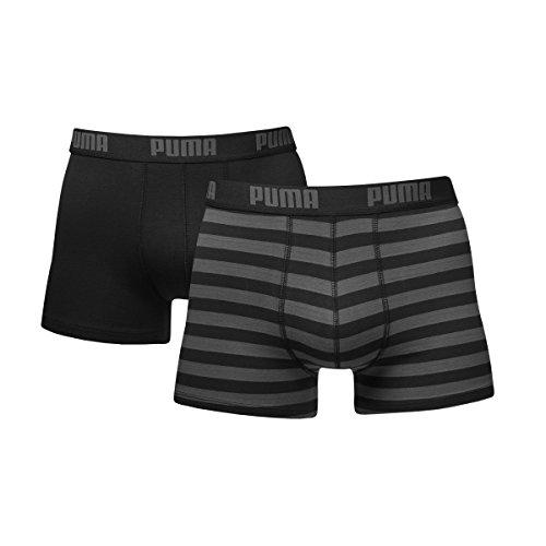 Puma Herren Striped   Boxer 2er Pack, schwarz, XL, 651001001