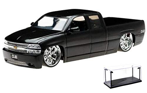 Diecast Car & LED Display Case Package - Chevy Silverado Pickup Truck, Black - Jada Toys Dub City 63112 - 1/18 Scale Diecast Model Toy Car w/LED Display Case