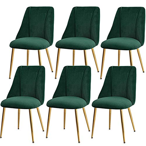 Velvet Dining Chairs Set of 6 Modern Mid Century Dining Kitchen Room Upholstered Chairs Back Support with Metal Legs (Color : Green, Size : Golden Legs)