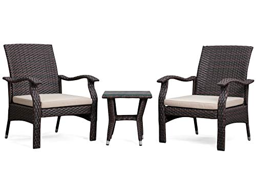 Patio Sense Miles Wicker Conversation Set Dark Brown 3 Piece Outdoor Bistro Set with 2 Chairs and Coffee End Table with Glass Top