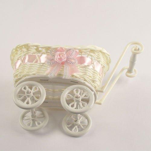 Meena Supplies SMALL or LARGE Baby Pram Hamper Wicker Basket (Pink, Small)